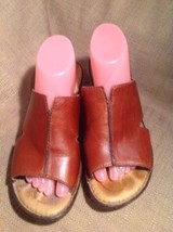 Born Handcrafted Footwear Women's Brown Leather Wedged Heel Sandals Size 9M - $29.69