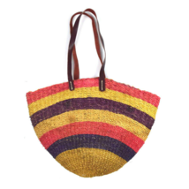 Vtg Beach Tote Shoulder Bag Multi Color Straw Woven  Bucket Purse Sack L... - $24.74