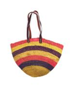 Vtg Beach Tote Shoulder Bag Multi Color Straw Woven  Bucket Purse Sack L... - $24.74
