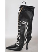NEW Versace $3,095 Black Logo 105 Perforated Leather Runway Boots Shoes ... - $886.05