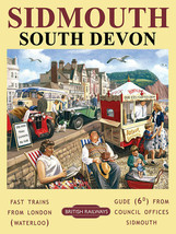 Sidmouth South Devon Costa Playa Ferrocarril Anuncio Imán Nevera - $3.69