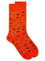BUGATCHI Eclectic Symbol Socks Orange Made in Italy - $39.97