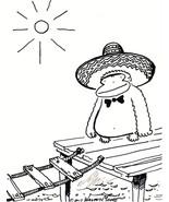 Sombrero Ape Crosses Rope Walkway. Original Signed Cartoon by Walter Moore - $9.44