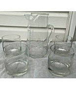 Tall Clear Glass Water Liquor Pitcher & 4 Glasses Etched Sailing Ships S... - $39.99