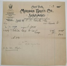 1904 Meriden Britannia Co. Silversmiths Ephemera Receipt - $15.00