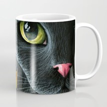 Coffee Mug Cup 11oz or 15oz Made in USA black Cat 510 ladybug art L.Dumas - $19.99+