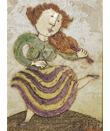 Rare Signed J. Roybal - Woman Playing Violin - Giclee Art Painting on Ca... - $489.99