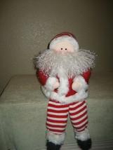 Plush Christmas Santa Sits on Mantle or Ledge - Frizzy Beard - Red Strip... - $9.46