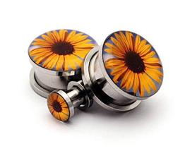 """Pair of Screw on Sunflower Picture Plugs Gauges - Choose Size (3/4"""" - 19mm) - $20.79"""