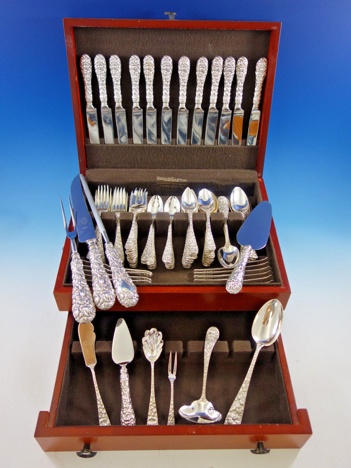 Baltimore Rose by Schofield Repousse Sterling Silver Flatware Set Service 106 pc