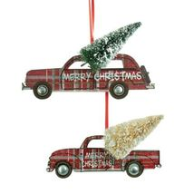 Red Plaid Car and Pickup Truck with Tree Christmas Holiday Ornaments Set... - $42.92