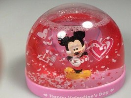 Disney Snowglobe Mickey mouse Happy Valentines day hearts love gift - $16.82