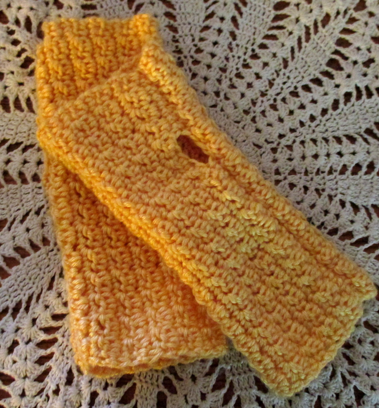 Yellow Crocheted Fingerless Gloves