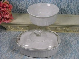 Vintage Corning Ware French White Pyroceram Round and Oval Casserole Set... - $59.99