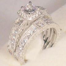 3ct Princess Antique Diamond Engagement Ring Wedding Set Gold Over 925 M... - $186.98