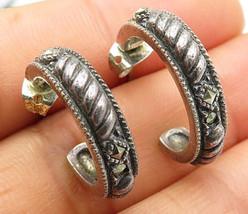 JUDITH JACK 925 Silver - Vintage Dark Rope Design J-Hoop Earrings - E3724 - $44.85