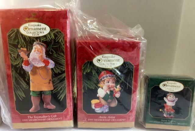 Primary image for 1999 HALLMARK COLLECTOR'S CLUB MEMBERSHIP KIT SET OF 3 ORNAMENTS! NEW IN BOXES
