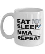 Funny MMA Mug - Eat Sleep Repeat - 11 oz Coffee Cup For Sports Fans Office  - $14.95