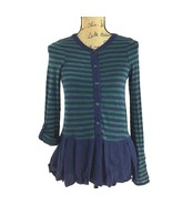 Anthropologie Top XS Postmark Navy Blue Green Stripe Henley Button Pleat... - $14.95