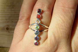 Beautiful Chakra Ring Size 8 US, Healing Stones, 925 Silver - $32.00