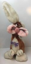 1985 Lynn Weinberg Enesco Silly Brown & White Bunny Plush with Bow Tie - $19.75