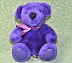 """FIRST & MAIN PURPLE RAINBOW BEAR TEDDY WITH VINYL FEET EARS RIBBON 7"""" PL... - $9.50"""