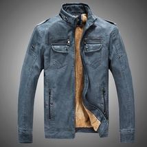 Hot ! High Quality New Winter Fashion Men's Coat Leather Jacket (male coat color image 2