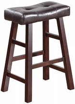 "24"" Counter Stool Furniture Bar Dark Cherry Solid Wood Seat Pad New Set ... - $82.00"