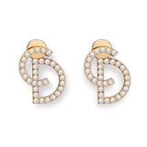 "100% Authentic Christian Dior ""Your Dior"" CD Logo Initial Pearl Stud Earrings - $349.99"
