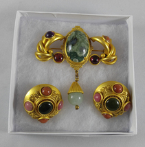 Vintage 1990s Natasha Stambouli Designer 18 K Gold Plated Brooch Pin Ear Clips - $380.00