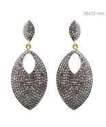 Sterling Silver Studded 2.39ct Diamond Marquise Dangle Earrings 14k Gold... - $712.80