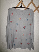 Ann Taylor Floral Embroidered Cotton Tee Gray Nwt Misses M - $15.00