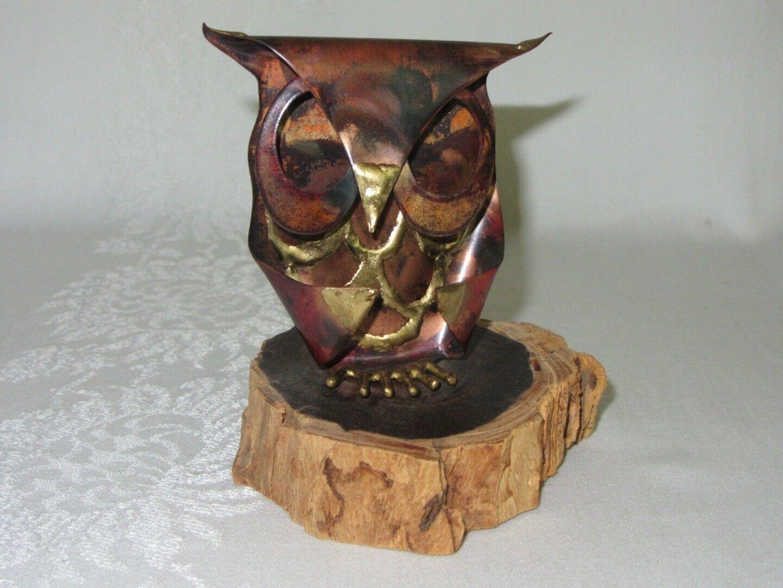 Metal Copper Patina Vtg Owl Figurine on Wood Slice Brutalist Rustic Art signed