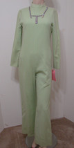 Vintage 70's Jumpsuit MOD Mint Green Wool Blend Rhinestone Trim LS 34 - $269.99