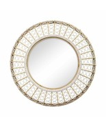 "33.5"" X 4.5"" X 33.5"" White Natural Bamboo Wood Glass Rope Wall Mirror - $294.01"