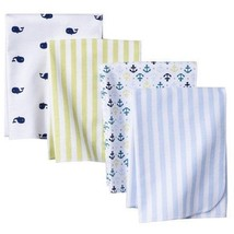 Circo Baby Boy Flannel Receiving Blanket Nautical Whale Anchor Stripe Blue White - $42.31