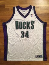Authentic 2002 Reebok Milwaukee Bucks Ray Allen Home White Jersey 56 - $309.99