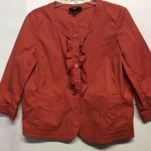 Talbots Womens Jacket Burnt Orange 3/4 Sleeve Ruffle Button Up Career Pe... - $9.89
