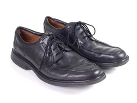 Clarks Structured Black Leather Moccasin Toe Business Casual Oxford Shoes Mens 8 - $22.76