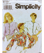 Simplicity 8187 Womens Blouse Button Down Front Sewing Pattern Size NN 1... - $10.00