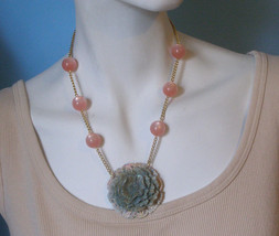 Pastel Blue Poppy Flower Pendant Necklace Vintage Pink Moonglow Bead Fil... - $39.59