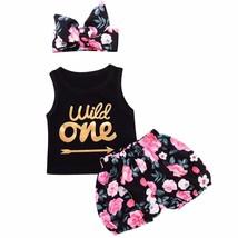3pcs Set Infant Baby Girl Clothes Wild One Arrow Letter Print Vest Top F... - $20.52