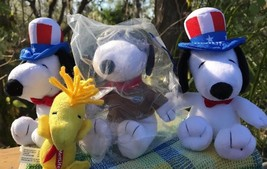 LOT OF 4 PEANUTS COLLECTOR PLUSH TOYS PATRIOTIC SNOOPY AVIATOR PILOT WOO... - $24.50
