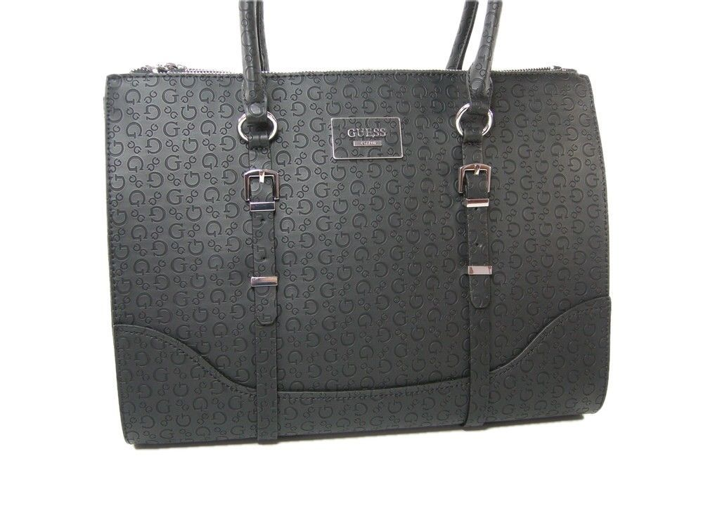 Guess G Logo Embossed Purse Large Satchel Hand Bag Black Matte Ofarrell NWT