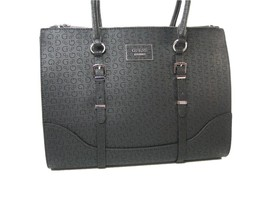 Guess G Logo Embossed Purse Large Satchel Hand Bag Black Matte Ofarrell NWT - $108.89