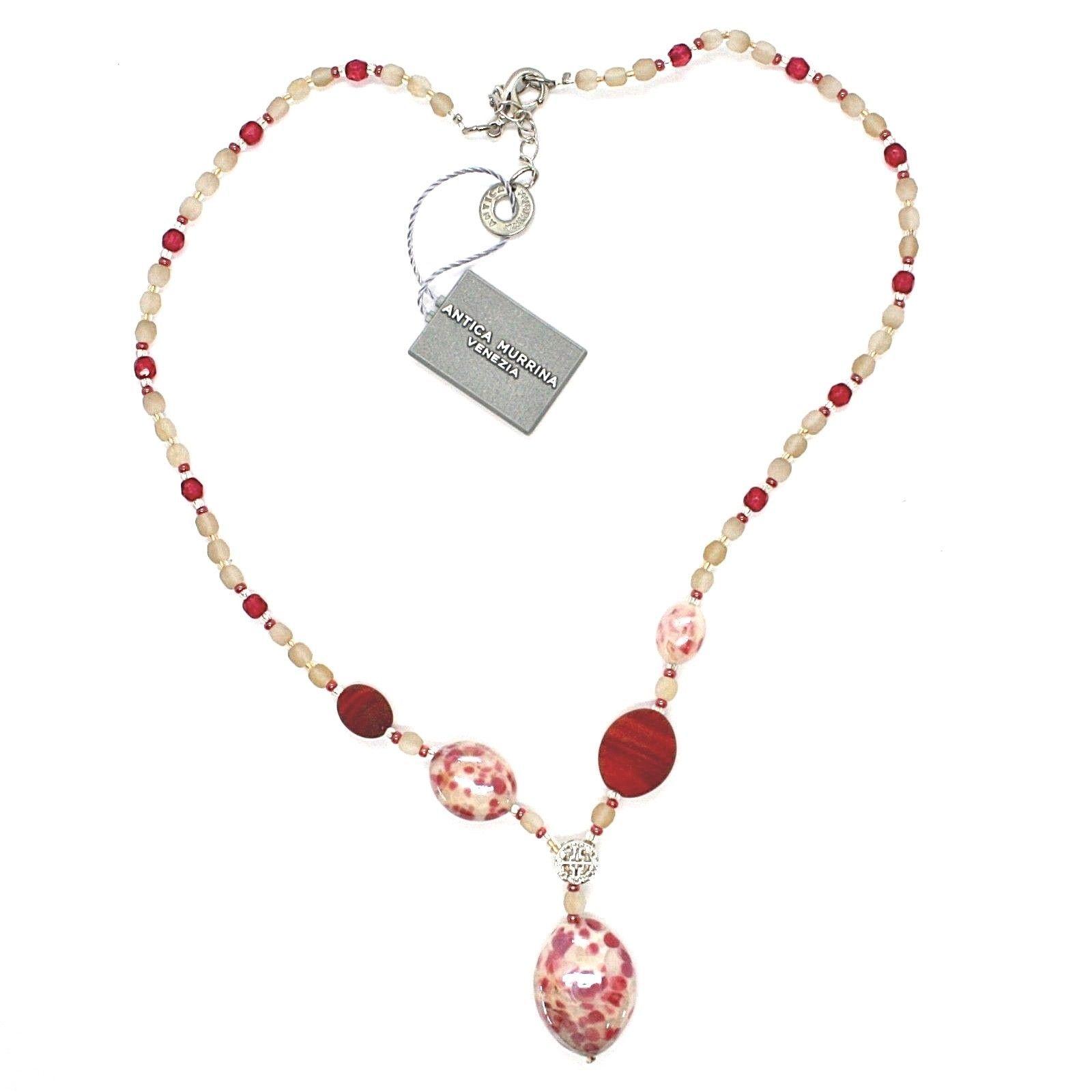 NECKLACE ANTICA MURRINA VENEZIA WITH MURANO GLASS RED BEIGE WHITE CO926A11