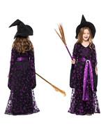 Girls Halloween Witch Costume Long Black Dress Cosplay Renaissance Fancy... - $46.19