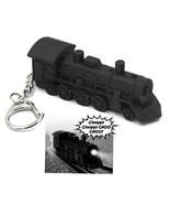 LED TRAIN ENGINE KEYCHAIN w Light and Sound Black Locomotive Toy Key Rin... - $7.95