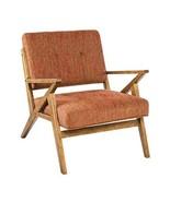 Mid Century Modern Retro Wood Orange Tufted Upholstered Lounge Chair - I... - $329.45