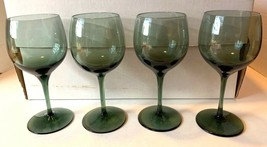 "Lenox Crystal 12 Glass Blue Green Azure Shadow Plain Rim 7"" Goblets Stor... - $25.00"
